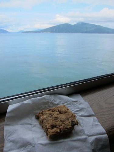 Peanut butter breakfast bars on the ferry to San Juan Island