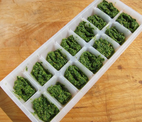 freeze pesto in ice cube tray